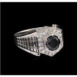 2.55 ctw Black Diamond Ring - 14KT White Gold