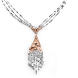 18k White/rose Gold 7.23CTW Diamond Necklace, (SI1/H)