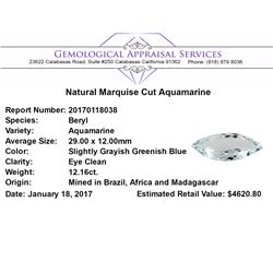 12.16 ct.Natural Marquise Cut Aquamarine
