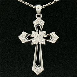 "14k White Gold 0.15 ctw Round Pave Diamond Open Work Cross Pendant w/ 18"" Chain"