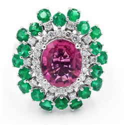 5.74 ctw Pink Tourmaline, Emerald and Diamond Ring - 14KT White Gold