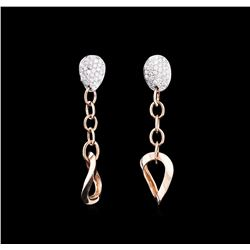 0.34 ctw Diamond Earrings - 14KT Two-Tone Gold