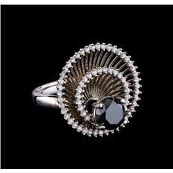 2.85 ctw Black Diamond Ring - 14KT White Gold