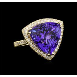 GIA Cert 19.46 ctw Tanzanite and Diamond Ring - 14KT Yellow Gold