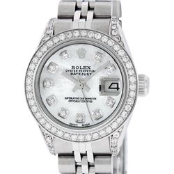 Rolex Ladies Stainless Steel Diamond Lugs MOP Diamond Datejust Wristwatch