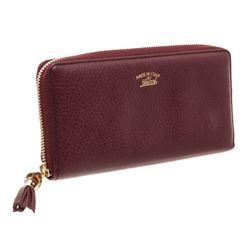 Gucci Burgundy Leather Zippy Wallet