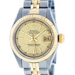 Rolex Ladies 2 Tone 14K Yellow Gold & Stainless Steel Champagne Index Datejust W