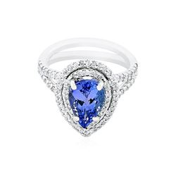 14KT White Gold 2.40 ctw Tanzanite and Diamond Ring