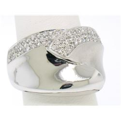 14k White Gold Dual Finish 1 ctw Pave Diamond Bold  Swirled Dinner Ring Band
