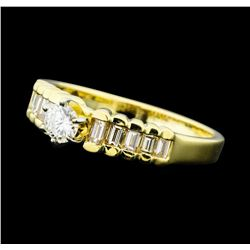 0.50 ctw Diamond Pyramid Ring - 14KT Yellow Gold