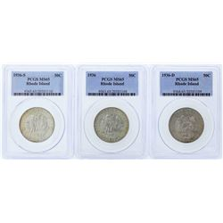Set of (3) 1936-P/D/S Rhode Island Tercentenary Commemorative Half Dollar Coins