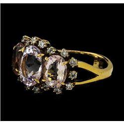 4.72 ctw Morganite and Diamond Ring - 18KT Rose Gold