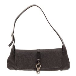 Gucci Black Denim Canvas Leather Trim Baguette Shoulder Bag