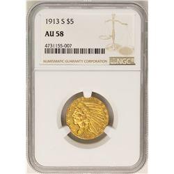 1913-S $5 Indian Head Half Eagle Gold Coin NGC AU58