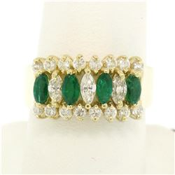 14k Yellow Gold 2.02 ctw Prong Marquise Emerald & Diamond Quality Pyramid Ring