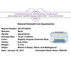 2.17 ct.Natural Emerald Cut Aquamarine