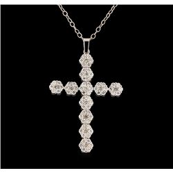 2.23 ctw Diamond Cross Pendant With Chain - 14KT White Gold