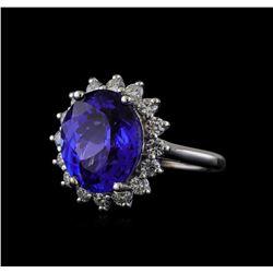 8.04 ctw Tanzanite and Diamond Ring - 14KT White Gold