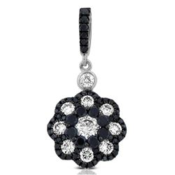 14k White Gold  1.01CTW Diamond and Black Diamonds Pendant