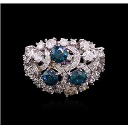 3.41 ctw Fancy Greenish Blue Diamond Ring - 14KT White Gold