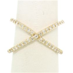 14k Yellow Gold 0.50 ctw Round Brilliant Diamond Simple X Ex Cross Band Ring