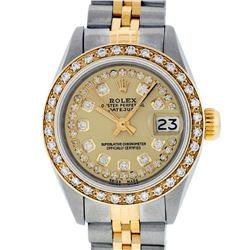 Rolex Ladies 2 Tone 14K Champagne String Diamond Datejust Wristwatch