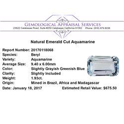 1.93 ct.Natural Emerald Cut Aquamarine