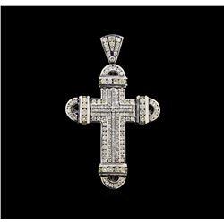16.24 ctw Diamond Cross Pendant - 10KT White Gold