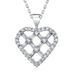 14k White Gold 1.00CTW Diamond Pendant, (H-I)