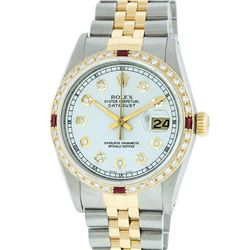 Rolex Mens 2 Tone 14K Silver Diamond & Ruby Datejust Wristwatch
