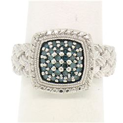 Sterling Silver .63 ctw Fancy Deep Greenish Blue Round Diamond Cluster Ring
