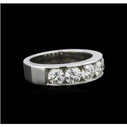 GIA Certified 1.64 ctw Diamond Wedding Band - 14KT White Gold