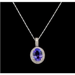 14KT White Gold 3.29 ctw Tanzanite and Diamond Pendant With Chain