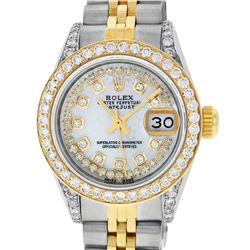 Rolex Ladies 2 Tone 14K MOP String Diamond Lugs Datejust Wriswatch