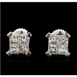 1.64 ctw Diamond Earrings - 14KT White Gold