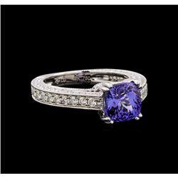 14KT White Gold 1.98 ctw Tanzanite and Diamond Ring
