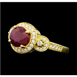 2.48 ctw Ruby And Diamond Ring - 18KT Yellow Gold