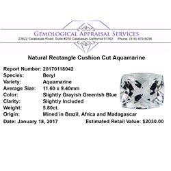 5.80 ct.Natural Rectangle Cushion Cut Aquamarine