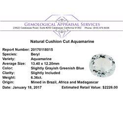 6.36 ct.Natural Cushion Cut Aquamarine