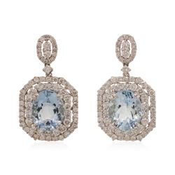 18KT White Gold 6 ctw Aquamarine and Diamond Earrings