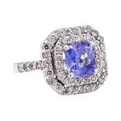 3.34 ctw Blue Sapphire And Diamond Ring - 18KT White Gold