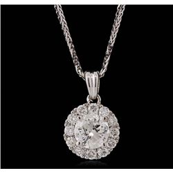14KT White Gold 0.92 ctw Diamond Pendant With Chain