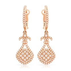 14k Rose Gold 0.75CTW Diamond Earrings, (I1/I)