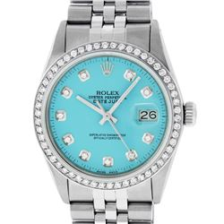 Rolex Mens Stainless Steel Blue Diamond 36MM Datejust Wristwatch