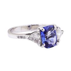 1.80 ctw Blue Sapphire And Diamond Ring - Platinum