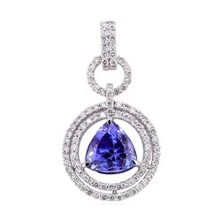 6.85 ctw Tanzanite and Diamond Pendant - 14KT White Gold