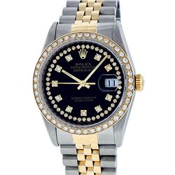Rolex Mens 2 Tone 14K Black String VS Diamond Datejust Wristwatch