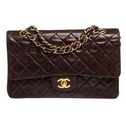 Chanel Dark Brown Lambskin Leather Medium Double Flap Bag