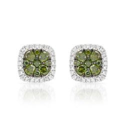 14k White Gold 0.50CTW Diamond and Green Dia Earrings, (SI/H)