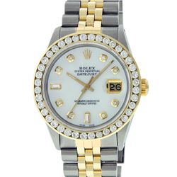 Rolex Mens 2 Tone Mother Of Pearl 3 ctw Channel Set Diamond Datejust Wristwatch
